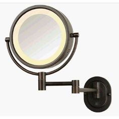 """SeeAll 8"""" Oil Rubbed Bronze Finish Dual Sided Surround Light Wall Mount Makeup Mirror (Hardwired Model)"""