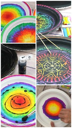 Scratch Art- Colorful Paper Plate Mandalas - The Kitchen Table Classroom Turn a paper plate into a simple mandala with this colorful DIY scratch art project!Turn a paper plate into a simple mandala with this colorful DIY scratch art project! Mandala Simple, Kratz Kunst, Classe D'art, Art And Craft Videos, Art Videos For Kids, Scratch Art, Classroom Crafts, Classroom Table, Art Lessons Elementary