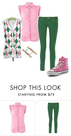 """""""Alex Fierro"""" by roseunspindle ❤ liked on Polyvore featuring Tommy Hilfiger, M Missoni, Converse, Alex, greenandpink and magnuschase"""