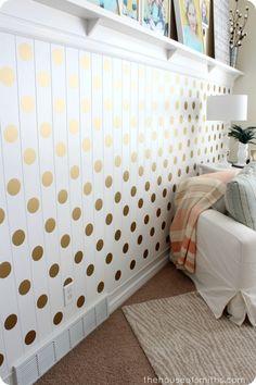 A Gold Polka Dot Accent Wall!
