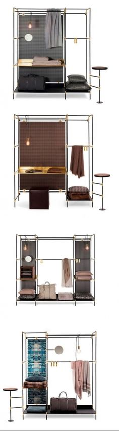 Pret-a-porter Pret-a-Porter is a cabinet/wardrobe made of steel tubular black painted frame , inox steel joints and mat gold finishing. It is available in many different versions and it is possible to choose optional accessories between mirror, small side table, lamp, hook and drawers.