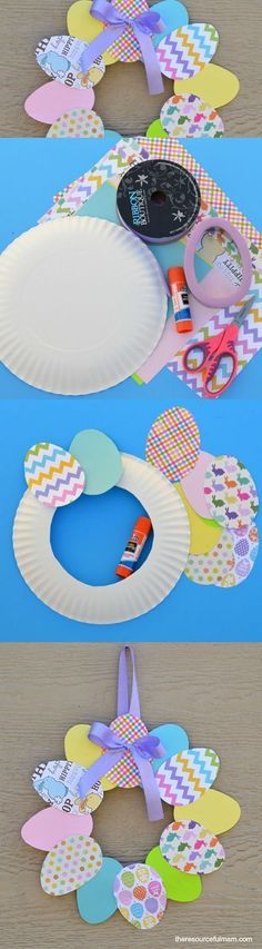 Paper plate Easter Wreath. So Cute and easy Easter craft for kids. #preschool #kindergarten
