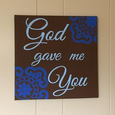Hand-painted 12×12 inch decorative wall art with romanticmessage.