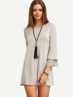 Online shopping for Grey Sheer Flare Sleeve Chiffon Dress from a great selection of women's fashion clothing & more at MakeMeChic.COM.