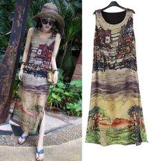 Chiffon Print Sleeveless Split Hems Dress