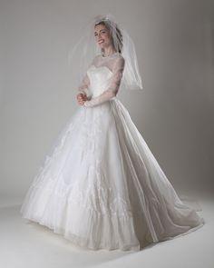 Vintage 1950s Wedding Dress White Lace Aurora Borealis Sequin Bridal Fashions. $525.00, via Etsy.