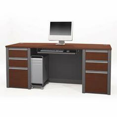 "Bestar 93850-1439 Connexion executive desk kit in Bordeaux & Slate finish by Bestar. $440.43. Includes executive desk two pedestals one keyboard shelf and a CPU platform.Durable 1"" commercial grade work surface with melamine finish that resists scratches stains and wears.Pedestal has two utility drawers and one file drawer with letter/legal filing system.Grommets for wire management.Finish: Bordeaux and Slate.Dimensions: 71.1"" L x 29.8"" D x 30.4"" H.. Save 26% Off!"