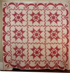 Antique 1800s Red & White Quilt Feathered Star with Bows Swags