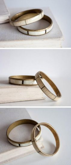 """Wouldn't this set of vintage brass and mother-of-pearl bracelets make a beautiful """"something old"""" for a certain kind of bride? #etsyweddings"""