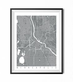 Minneapolis Map Art Print / Minnesota Poster / Minneapolis Wall Art Decor / Choose Size and Color