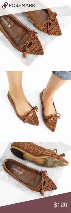 Aquatalia woven leather bow flats Super chic! No trades. Always open to offers. All photos are of actual item except #4. Made in Italy aquatalia Shoes Flats & Loafers