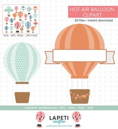 Silhouette Cameo, Hot Air Balloon Clipart, Cricut, Wedding Balloons, Png Format, Vinyl Cutting, Small Businesses, Party Printables, My Etsy Shop