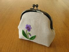 violet snap frame purse, no.2 by y * handmade