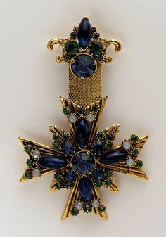 Vintage Florenza Maltese Cross Brooch Blue Green Rhinestones Gripoix Chatons | eBay