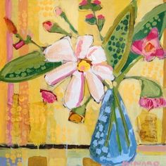 Bell Jar Flowers on Yellow by Christy Kinard