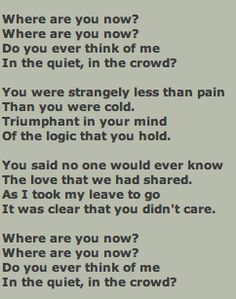 Where are you now my love lyrics