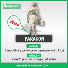 Meaning of Paragon explained through a picture and mnemonic. Paragon means 'A model of excellence or perfection of a kind; Advanced English Vocabulary, Learn English Grammar, Learn English Words, English Idioms, English Phrases, English Writing, English Lessons, French Lessons, Spanish Lessons
