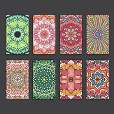 Boho style cards collection Free Vector
