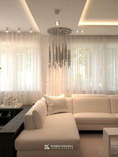 Visszafogott színvilágú felületek, csillogó króm lámpák jellemzik ezt az otthont. A modern geometrikus vonalvezetésű bútorok és lámpák, a fényes és matt felületek játékának összhatása megnyugtató, otthonos, de mégis elegáns hangulatot teremt. Tervező/Designer: Erdélyi Krisztina, www.erdelyikrisztina.hu #elegans#exkluziv#modern#home#design#interior#erdelyikrisztina#lakberendezo#belsoepitesz Curtains, Modern, Home Decor, Elegant, Blinds, Trendy Tree, Decoration Home, Room Decor, Draping