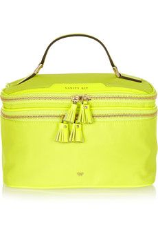Anya Hindmarch Vanity Kit neon patent leather-trimmed cosmetics case | NET-A-PORTER $450