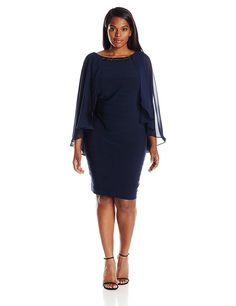 Adrianna Papell Women's Plus-Size Banded Dress with Chiffon Cape and Beaded Neck *** New and awesome product awaits you, Read it now  : Plus size dresses