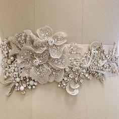 Beaded Bridal Sash with Floral Motif