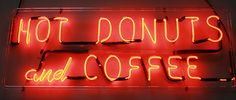 Hot Donuts and Coffee VINTAGE NEON SIGN 1950s for DINER, CAFE, COFFEE SHOP