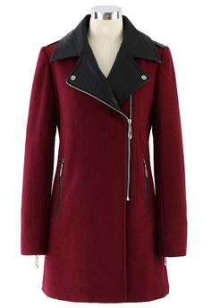Faux Leather Collar Felt Wool Coat in Oxblood