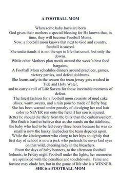 For all of you Football Mom's out there!!