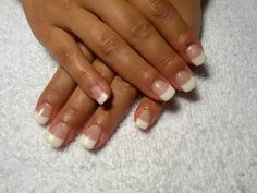 Gel nails white tips squoval!