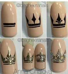 All of these nail designs are actually as simple as they are awesome. For those who are regularly trying to find options and brand-new designs, nail art designs are a way to display your character as well as to be original. Nail Art Diy, Diy Nails, Cute Nails, Pretty Nails, Crown Nail Art, Crown Nails, Nail Art Techniques, Luxury Nails, Creative Nails