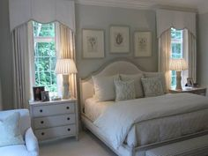 Benjamin Moore Quiet Moments on the walls, White Dove on the trim. Allie's bed. Love chest of drawers.