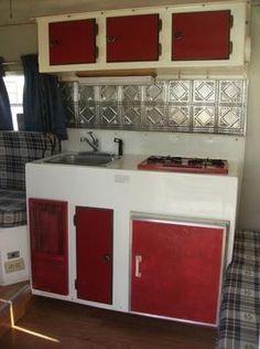 Scamp tin tiles kitchen. Scamp Camper, Scamp Trailer, Tiny Trailers, Vintage Camper Interior, Trailer Interior, Rv Interior, Fiberglass Camper, Vintage Travel Trailers, Vintage Campers