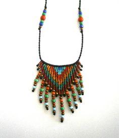 Ethnic necklace/Macrame necklace/Boho necklace/Macrame pendant/Micromacrame