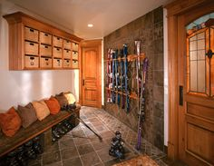 Mud - Ski Storage Design Ideas, Pictures, Remodel, and Decor Winter Cabin, Winter House, Winter Gear, Cozy Cabin, Stair Drawers, Ski Rack, Storage Design, Salt Lake City, Skiing