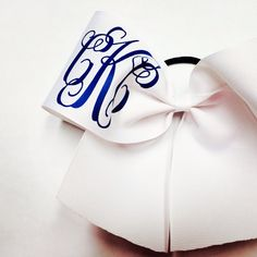 Script monogram cheer bow. So cute in school colors...