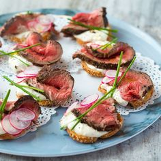 A very British canapé. Beef and horseradish are best friends that hold a special place in many a Brit's heart. But contrary to popular belief, they don't only have to put in an appearance at Sunday lunch. Oh no. They go a treat on a delicate little crostini too, making them ideal snackage for partie