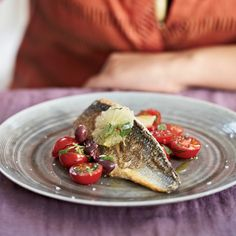 """Sophie Dahl calls this a """"good date dinner"""" because it's elegant yet easy. The Mediterranean-style salsa on the fish—a mix of olives, tomatoes, basi..."""