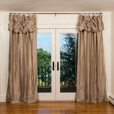 Never buy expensive art again! A ruched pleat on a #dupioni drape gives a theatrical effect, making the window a stage for your natural surroundings. www.themerrywindow.com #drapery #drapes #nature #art #silk #homedecor #interiordesign #home #style #house #design #remodel
