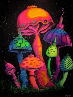 Spacey Shrooms by shonefluoart.deviantart.com on @DeviantArt