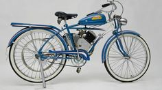 Auction Lot Monterey, CA The Barry Solomon Motorcycle Collection. Based on 1948 Huffman-Dayton bicycle. Blue and White with Red pin striping. Bicycle Engine, Minibike, Motorized Bicycle, Vintage Motorcycles, Custom Bikes, Scooters, Biking, Motorbikes, Auction
