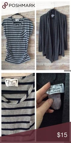Kristen Nicole Maternity Bundle sz S/M Bundle includes 1 striped maternity blouse with cinched sides size M. The cardigan is a dark gray size small. Both in good used condition ❌no trades, holds, or lowball offers. ✅Clean and smoke free home, quick shipping, bundle discount, always! 🎁Free gift with $15+ bundle. Kristen Nicole Sweaters Cardigans