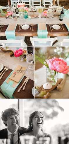 Pretty color scheme. Love how the blue masons, wood table and raw paper menus contrast with the fancy linens and girly flowers.