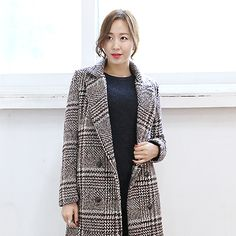 Glen Check Double Breasted Coat