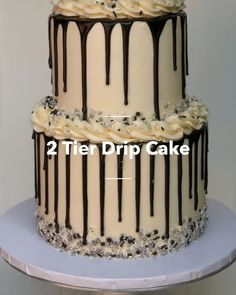 2 Tier Drip Cake - 2 Tier Drip Cake in 9 steps using Cake Layers, Buttercream Icing, Wilton Candy Melts, Wilton Sprink - Oreo Cake, Cake Icing, Cupcake Cakes, Buttercream Icing, Food Cakes, Mini Cakes, Cake Decorating For Beginners, Cake Decorating Videos, Cake Decorating Techniques