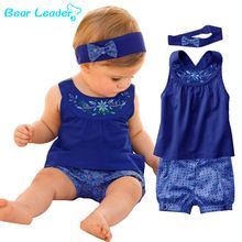 Bear Leader Fashion Blue Baby Vestidos Suits/Baby Kerchief+ Sleeveless Dress+ Gingham Plaid Pant/ Baby Clothing