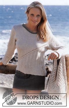 DROPS Pullover in Bomull-Lin Free pattern by DROPS Design.