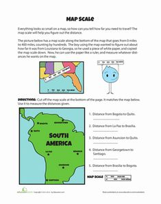 Using A Map Scale Worksheets | Geography | Pinterest ...