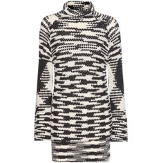 Missoni Wool-Blend Knitted Turtleneck Dress (£1,080) ❤ liked on Polyvore featuring dresses, black, missoni, turtleneck dress, polo neck dress, missoni dress and turtle neck dress