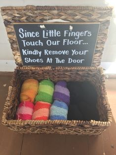 Remove shoes at door sock basket and sign I love this idea, though im not sure guests will want to wear community socks, even if theyre clean. Door Sock, Shoes Off Sign, Entryway Shoe Storage, Entryway Decor, Shoe Basket, Front Door Signs, Home Signs, Home Projects, House Warming